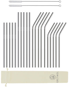 Reusable Stainless Steel Cocktail Straws Combo - 20 Pack Silver