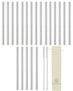 Reusable Stainless Steel Smoothie Straws Long - 20 Pack Silver