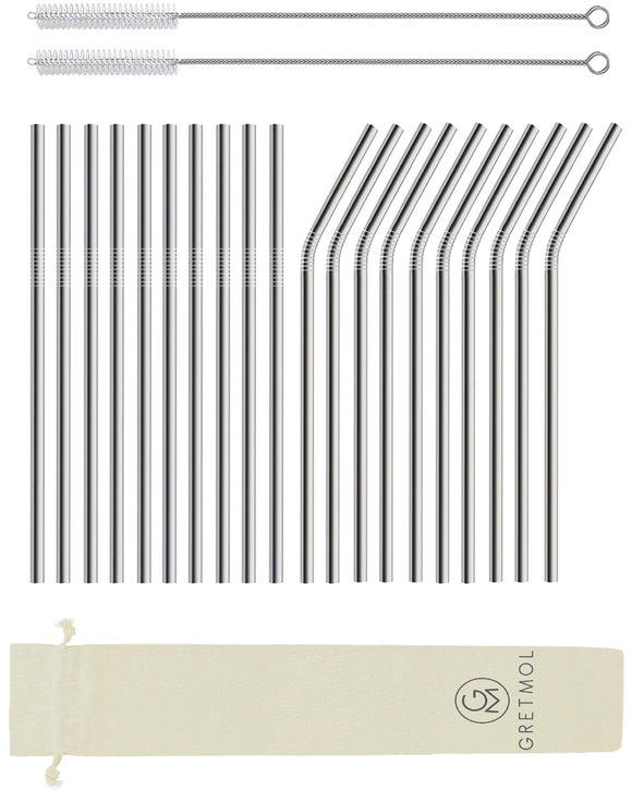 Reusable Stainless Steel Cocktail Straws Straight & Bent Short - 20 Pack Silver
