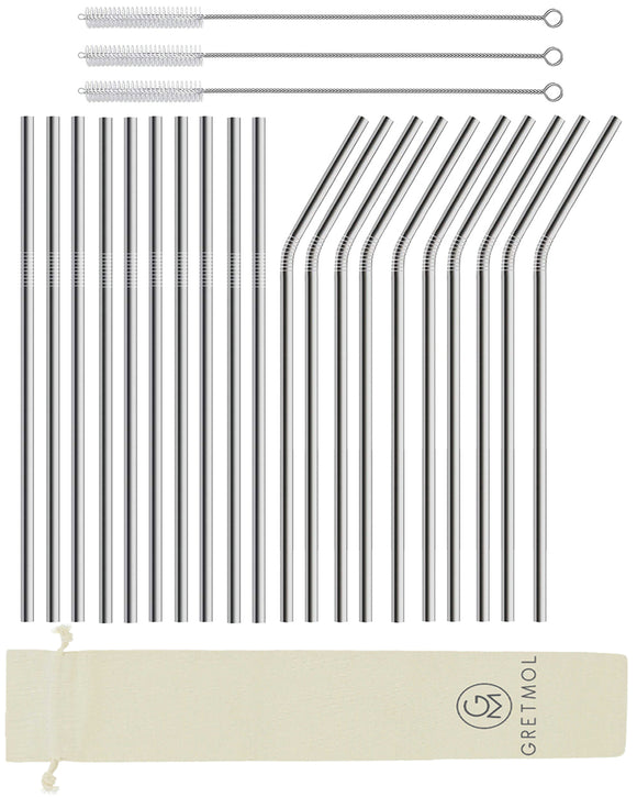 Reusable Stainless Steel Cocktail Straws Long- 20 Pack Silver