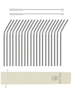 Reusable Stainless Steel Drinking Straws Bent with Brush - 20 Pack Silver