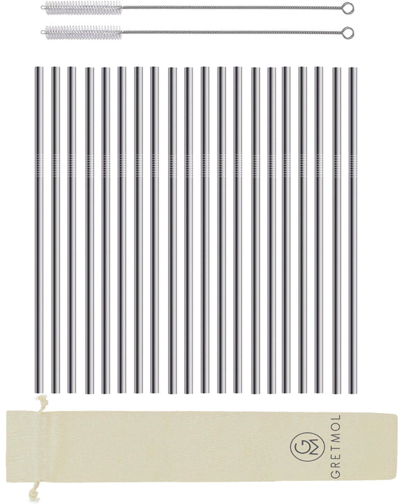 Reusable Stainless Steel Cocktail Straws Straight with Brush - 20 Pack Silver
