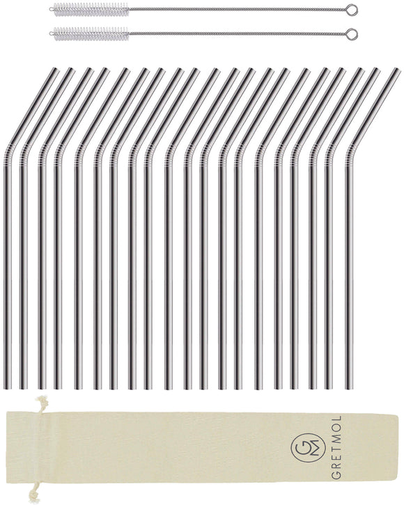 Reusable Stainless Steel Cocktail Straws Bent with Brush - 20 Pack Silver