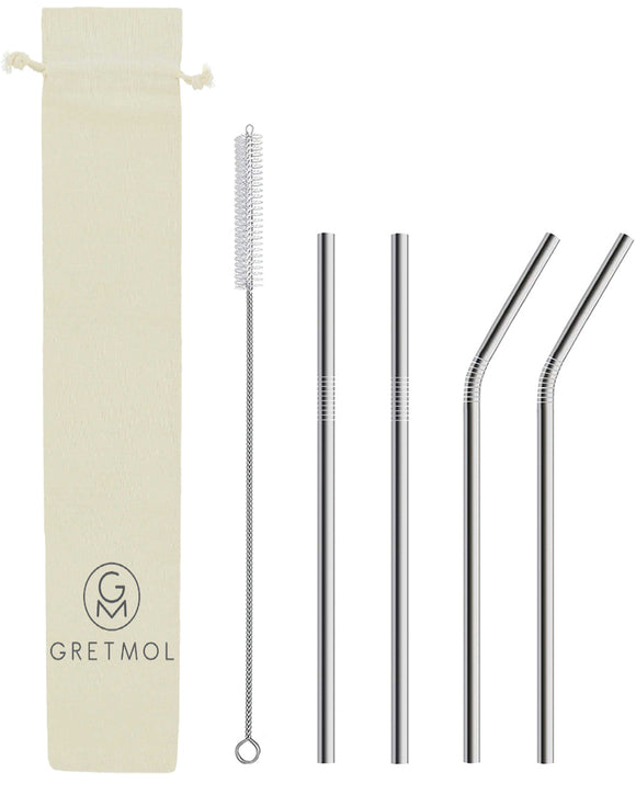 Reusable Stainless Steel Straws Straight & Bent with Brush - 4 Pack Silver