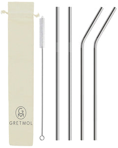 Reusable Stainless Steel Straws Bent & Straight with Brush - 4 Pack Silver