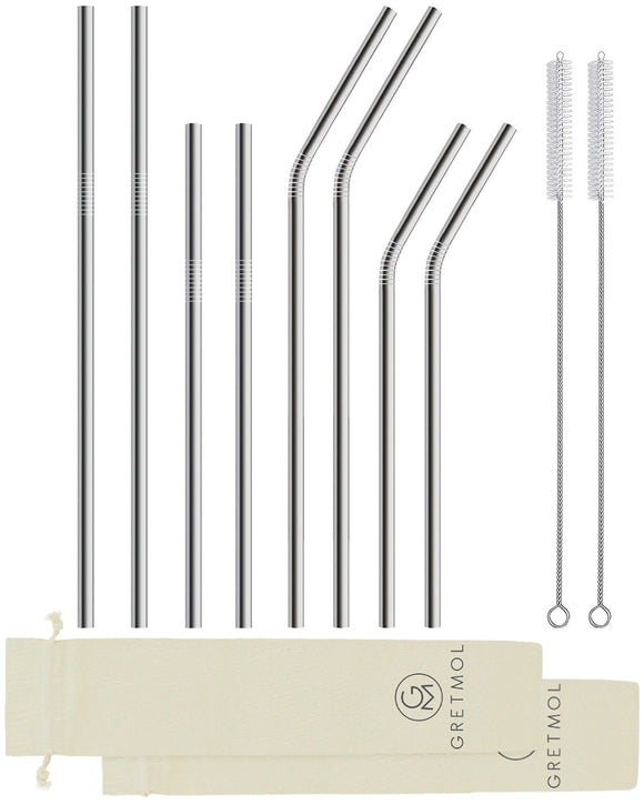 Reusable Stainless Steel Straws Combo Set with Brush - 2 Packs Of 4 Silver