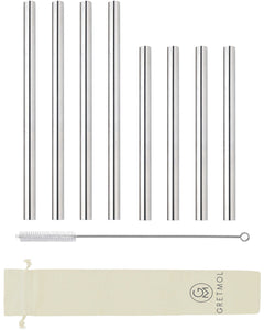 Reusable Stainless Steel Smoothie Straws Straight Mix - 8 Pack Silver