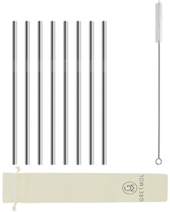 Reusable Stainless Steel Straws Straight with Brush - 8 Pack Silver