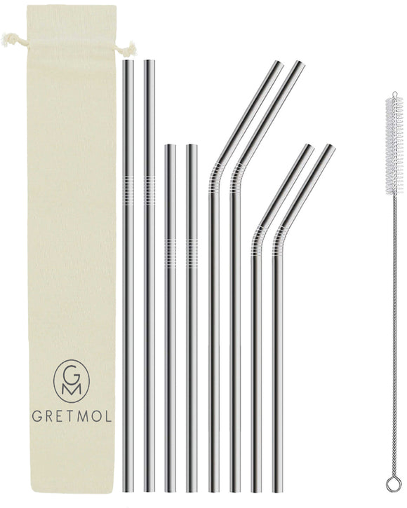 Reusable Stainless Steel Straws - 8 Pack Combo Silver