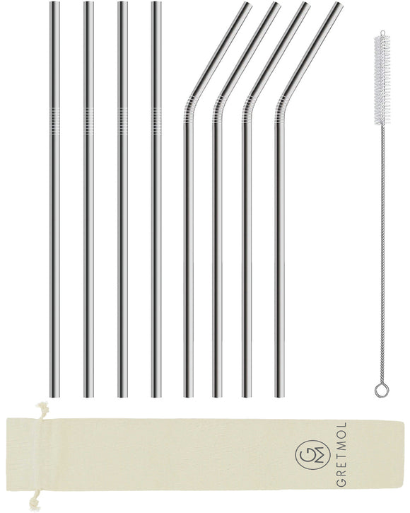 Reusable Stainless Steel Long Straws-  8 Pack Silver