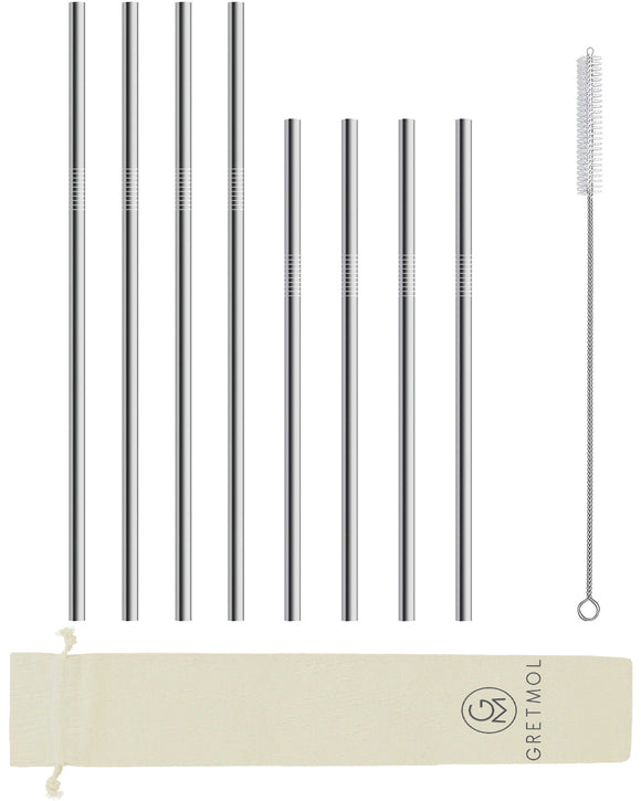 Reusable Stainless Steel Straight Straws - 8 Pack Silver