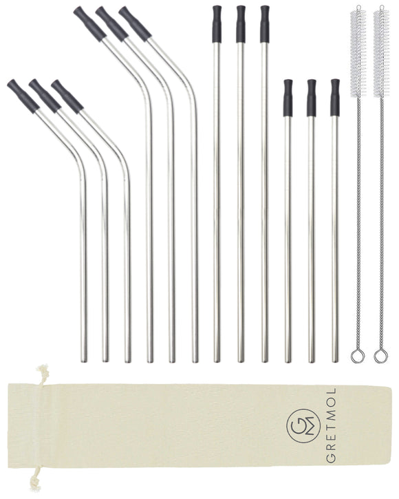 Reusable Silver Metal Straws Combo With Black Silicone Tips - 12 Pack