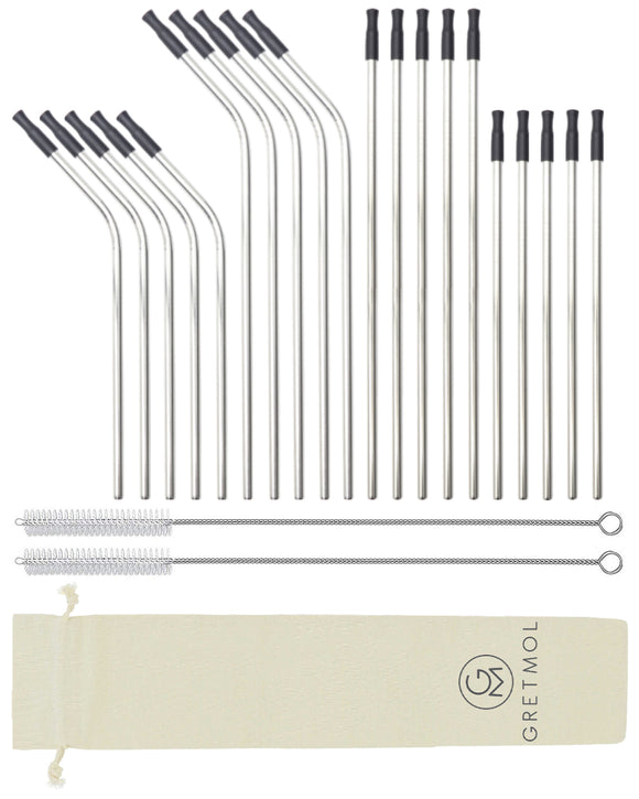 Reusable Silver Metal Straws Combo With Black Silicone Tips -20 Pack