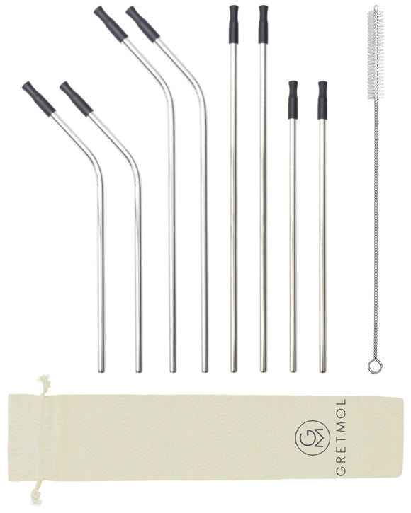 Reusable Silver Metal Straws Combo With Black Silicone Tips - 8 Pack