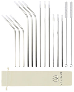 Reusable Silver Metal Straws Combo With Clear Silicone Tips - 12 Pack