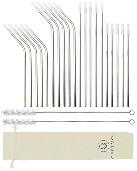 Reusable Silver Metal Straws Combo With Clear Silicone Tips -20 Pack