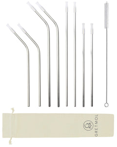 Reusable Silver Metal Straws Combo With Clear Silicone Tips - 8 Pack
