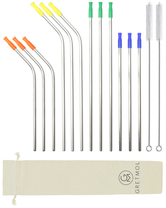 Reusable Silver Metal Straws Combo With Multicolored Silicone Tips - 12 Pack