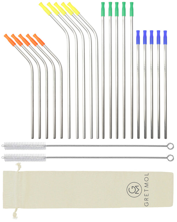 Reusable Silver Metal Straws Combo With Multicolored Silicone Tips -20 Pack
