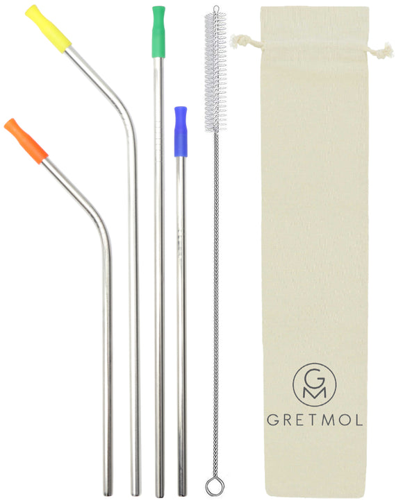 Reusable Silver Metal Straws Combo With Multicolored Silicone Tips - 4 Pack