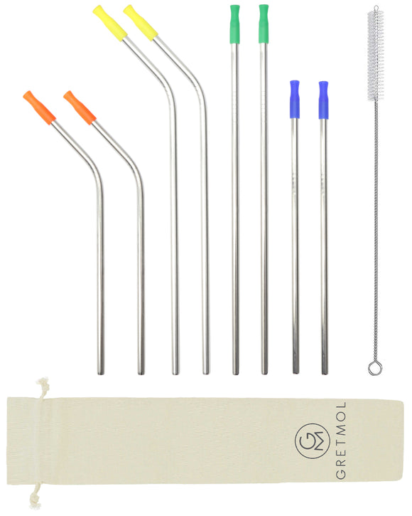 Reusable Silver Metal Straws Combo With Multicolored Silicone Tips - 8 Pack