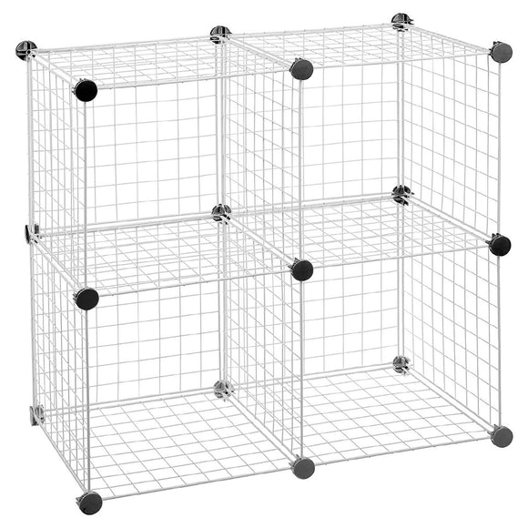 Modular Grid Wire Shelves - Set of 4 Storage Cubes - White
