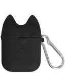 Silicone Protective Cover Skin With Keychain For Apple AirPods Case - Black