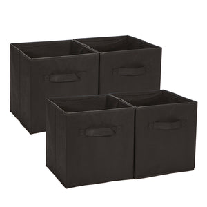 Loop Storage boxes Foldable Storage Bins Pack of 4 - Black