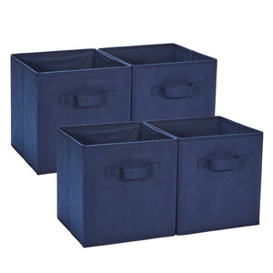 Loop Storage Boxes Foldable Storage Bins Pack of 4 - Navy Blue
