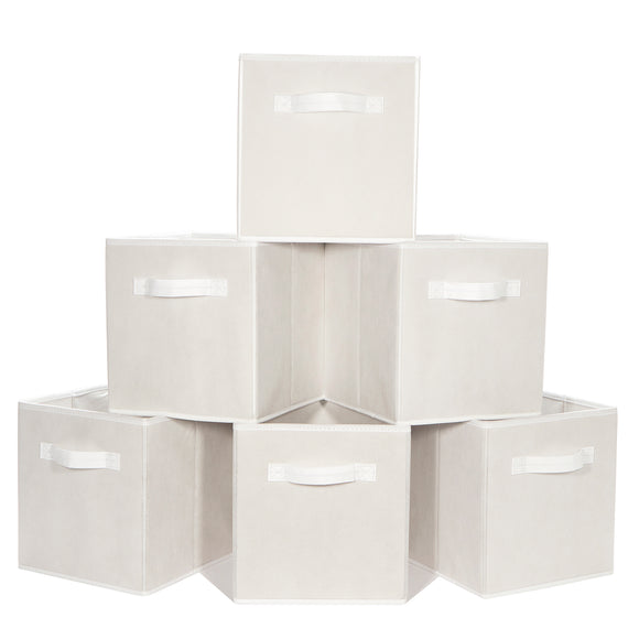 Gretmol Storage boxes Foldable Storage Bins Pack of 6 - White