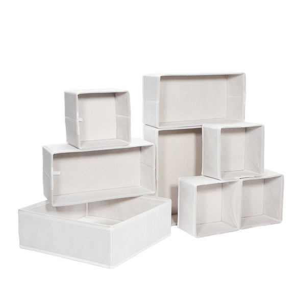 Foldable Storage Box Dresser Drawer Organizer White - Set of 8