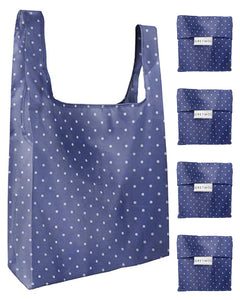 Reusable Grocery Bags 4 Pack Foldable With Pouch - Blue And Polka Dot