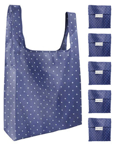 Reusable Grocery Bags 5 Pack Foldable With Pouch - Blue And Polka Dot