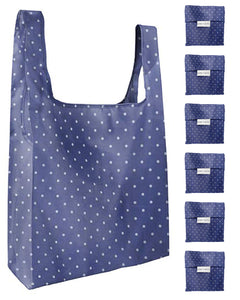 Reusable Grocery Bags 6 Pack Foldable With Pouch - Blue And Polka Dot