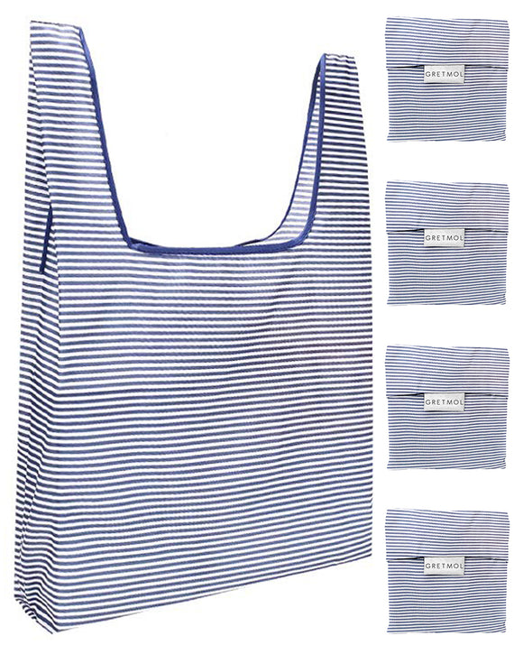 Reusable Grocery Bags 4 Pack Foldable With Pouch - Blue And White Stripe