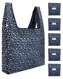 Reusable Grocery Bags 5 Pack Foldable With Pouch - Navy And White Stars