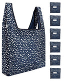 Reusable Grocery Bags 6 Pack Foldable With Pouch - Navy And White Stars