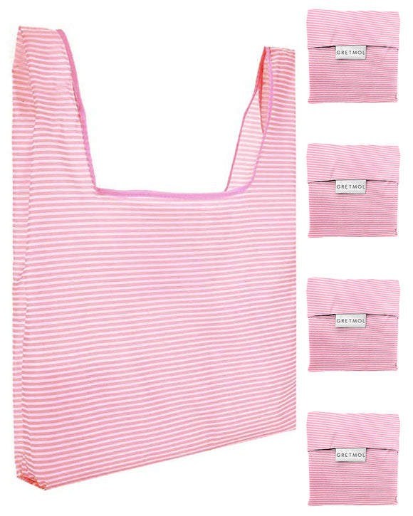 Reusable Grocery Bags 4 Pack Foldable With Pouch - Pink And White Stripe