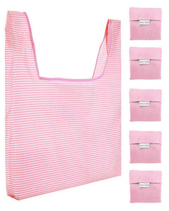Reusable Grocery Bags 5 Pack Foldable With Pouch - Pink And White Stripe