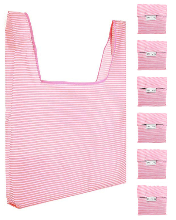 Reusable Grocery Bags 6 Pack Foldable With Pouch - Pink And White Stripe