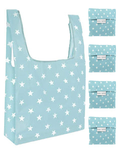 Reusable Grocery Bags 4 Pack Foldable With Pouch - Sky Blue And White Stars