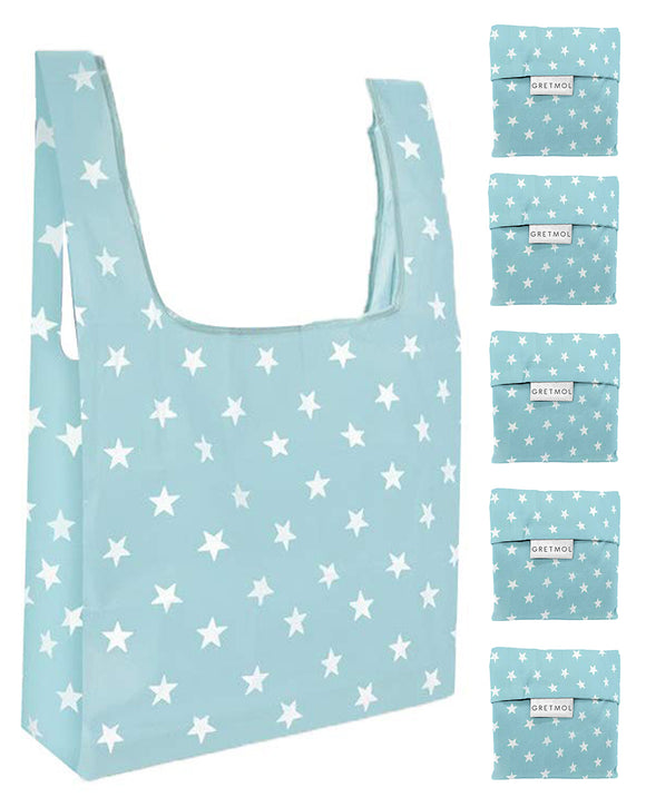 Reusable Grocery Bags 5 Pack Foldable With Pouch - Sky Blue And WhiteStars