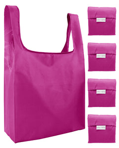 Reusable Grocery Bags 4 Pack Foldable Shopping Tote Bag - Pink