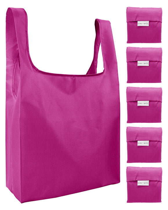 Reusable Grocery Bags 5 Pack Foldable Shopping Tote Bag - Pink