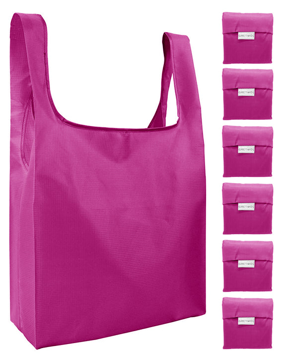 Reusable Grocery Bags 6 Pack Foldable Shopping Tote Bag - Pink