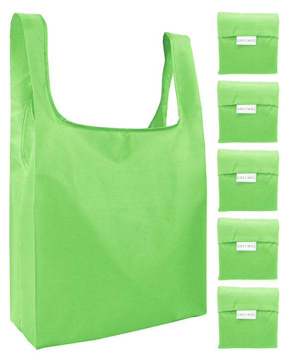 Reusable Grocery Bags 5 Pack Foldable Shopping Tote Bag - Green