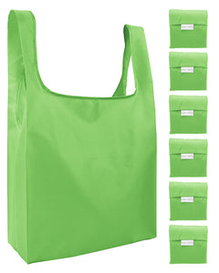 Reusable Grocery Bags 6 Pack Foldable Shopping Tote Bag - Green