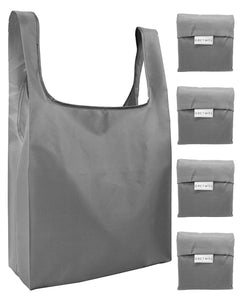 Reusable Grocery Bags 4 Pack Foldable Shopping Tote Bag - Grey