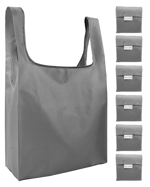 Reusable Grocery Bags 6 Pack Foldable Shopping Tote Bag - Grey