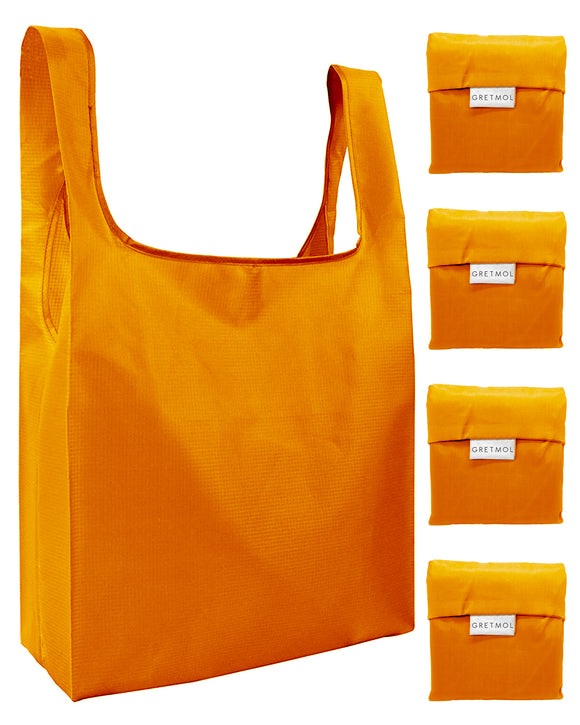Reusable Grocery Bags 4 Pack Foldable Shopping Tote Bag - Orange